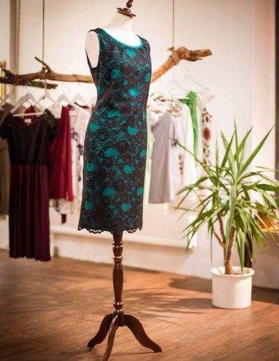 Kleid, Spitze, Jersey, Alltag, Smaragd (5)